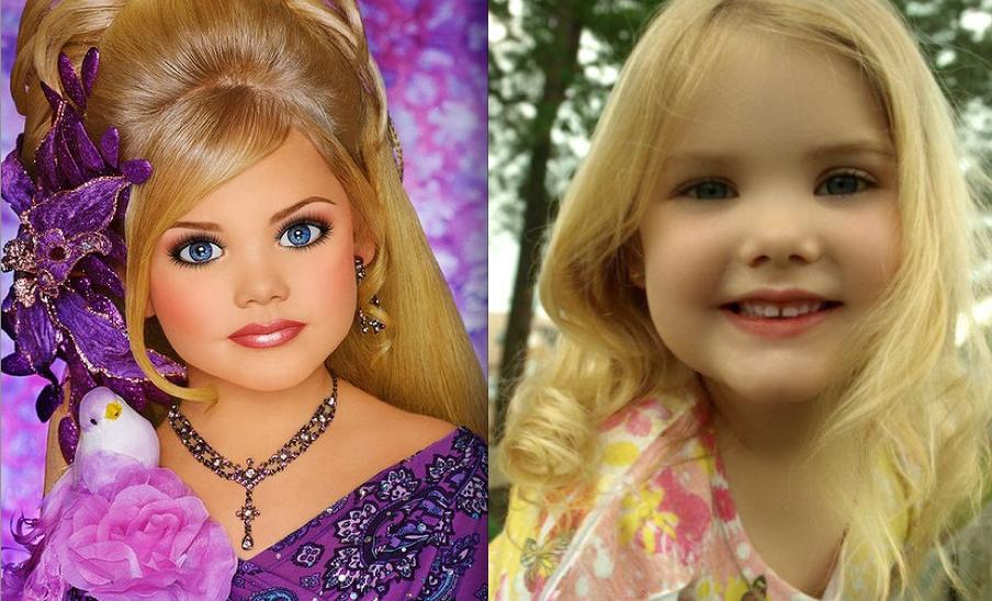 Eden Wood, une mini-miss célèbre aux Etats-Unis, au naturel et maquillée pour le concours.