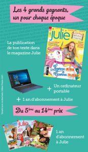 Concours Mots d'elles Julie Magazine, les lots à gagner