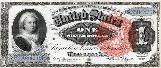 Martha Washington orna un billet de 1886 à 1891. (© D.R.)