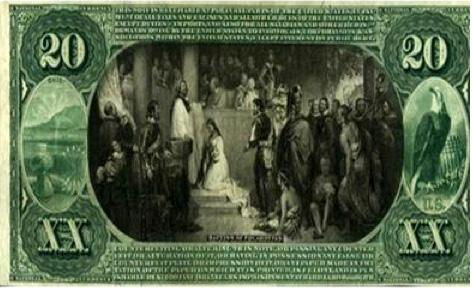 Pocahontas est la première femme à figurer sur un billet de banque américain dans les années 1860 (© D.R.)